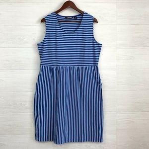 Lands End Blue Striped Scoop Neck Sleeveless Dress